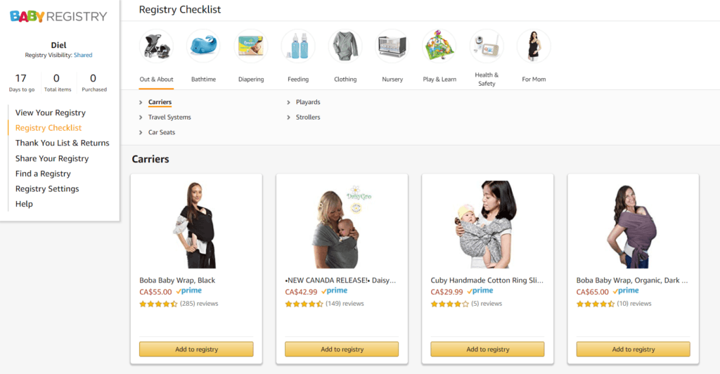 How to create Amazon Baby Registry list